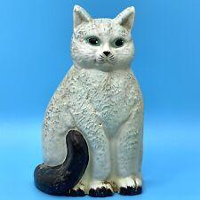 New listing Vintage Cast Metal White Cat Black Tail Door Stop Figurine ~4 pounds