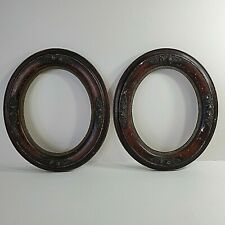 """Victorian Antique Oval Wood & Plaster Frames Matching Set of (2) 1870s 14x12"""""""
