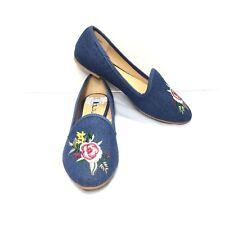 Women's Chinese Laundry Denim Blue Floral Ballerina Flats Size 6.5 M