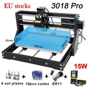 CNC 3018 PRO Engraver Kit & 15W Laser Module GRBL ER11 Hobby DIY for Wood  PCB