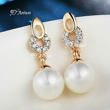 18K YELLOW GOLD GF MADE WITH SWAROVSKI CRYSTAL PEARL STUD EARRINGS FASHION