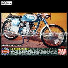 #TP Fiche Moto FB MONDIAL 125 1954 (Racing Bike, BOSELLI, Milan)
