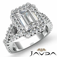 Radiant Diamond Engagement Fancy Italian Prong Ring GIA H SI1 14k White Gold 2ct