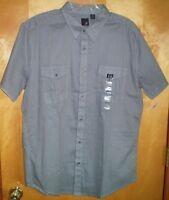 NWT NEW mens size XL 17-17.5 black gray J FERRAR s/s casual shirt