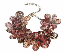 New Pretty Acrylic Floral Bracelet in Red & Brown