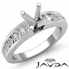 Diamond Engagement Round Semi Mount Ring Channel Setting 18k White Gold 0.7Ct