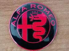 Alfa Romeo NEW GIULIA BLACK&RED emblem badge logo 74mm 147,159,Guilietta