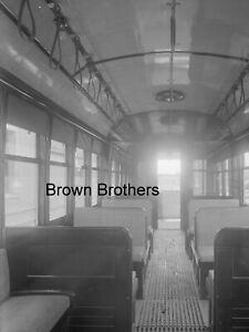 1911 Long Island Railroad Battery Trolley Interior Glass Photo Camera Negative