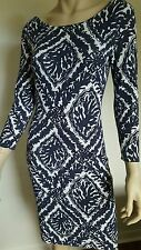 Lilly Pulitzer Women's White Blue Sweater Knit Dress Top Long Sleeve Sz Medium