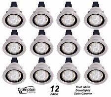 12 Pack x Satin Chrome Cool White Downlight Kits 240V 15W R80 CFL 110mm cutout