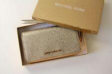 MICHAEL KORS Portemonnaie GIFTABLES LG FLAT CASE Leather pale gold mit Glitzer