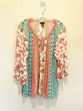 Boho Peasant Tunic Soft Gauze Fabric Embroidered Neck Line Size XL