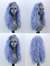 """24""""  Women Long Curly Wavy Daily Use Synthetic Lace front wigs Light Blue"""