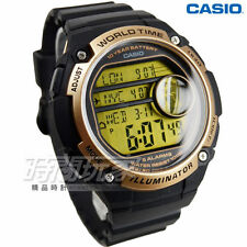 Casio BIG CASE SIZE gold&black WORLD TIME CRONOGRAPH TRAVELER watch montre reloj