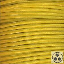 Textilkabel Stoffkabel Lampen-Kabel Stromkabel Elektrokabel Gelb 3 adrig