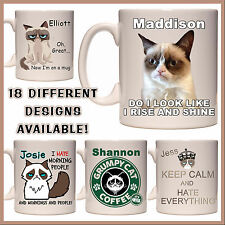 Personalised Grumpy Cat Mug - Any Name or Msg - Many Designs - Gift Idea - Funny