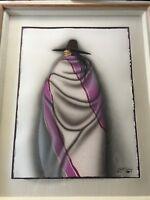 """Robert Redbird Original Gouache Painting Signed, Framed, 22 1/2"""" x 29 1/2"""" Image"""