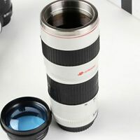 Camera Lens Shaped EF 70-200mm Thermos Drink Coffee Cup Mug -White Gift