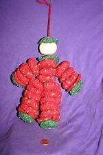 Vintage yoyo doll ornament Christmas Red