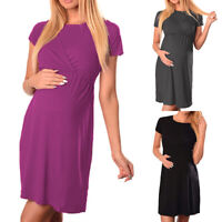 Women's Maternity Pregnant Casual Dress Summer Short Sleeve Tunic Tops Clothes