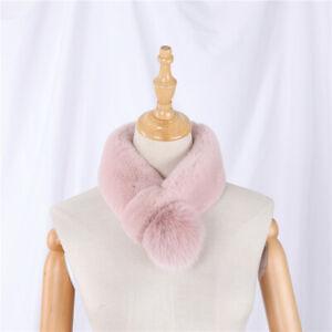 Women's Rex Rabbit Fur Scarf Scarves Girls Wraps Neck Warmer Fox Fur Pom Poms