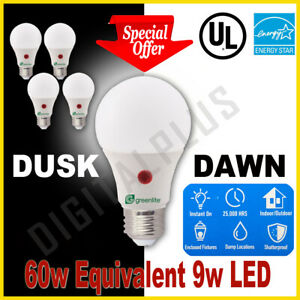 Led Smart Bulb Security Light Dusk To Dawn 9w = 60w Equivalent 800L 3000k E26