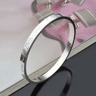 Women 925 Sterling Silver Crystal Chain Bangle Cuff Charm Bracelet Jewelry Hot