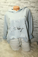 Italy Hoodie Pullover Vintage Gr. 36 38 40 42 Sweat Shirt blau Mickey Mouse
