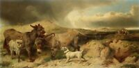 Oil painting francisco de goya - animals donkey family with asinego dog canvas