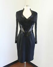 Vtg Lillie Rubin Black Sequin Beaded Cocktail Evening Party Dress Size 4 Mesh