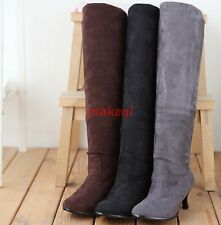 Fashion womens faux suede stiletto over knee thigh high boots shoes boots Size