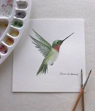 Hand-Painted Hummingbird Watercolor Original, Unframed
