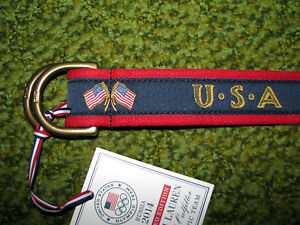 Mens POLO-RALPH LAUREN Olympics Team 2014 Belt (S) USA/ SOCHI RUSSIA