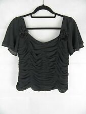 COTERIE Black Top Size UK14 Ruched Floral Detail Cruise Occasion