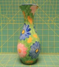 """Handcrafted Porcelain Chinese Floral Blue and Pink Daisy Flower Bud Vase 7.5""""H"""