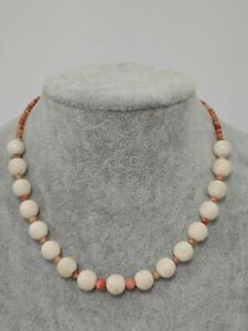 White and pink coral necklace, 40 cm, Sicily, Italy.