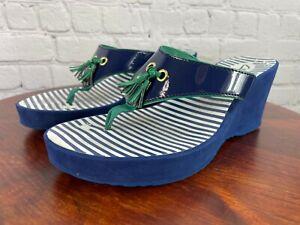 Clarks Navy Blue & Green Tassle Flip Flop Wedge Sandals Sz 7 M Women's Slide On
