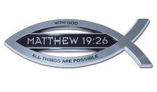 Christian Fish Chrome Car Emblem Matthew 19:26 High Quality Free Shipping!