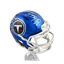 Eddie George Autographed Tennessee Titans Chrome Mini Football Helmet - JSA COA