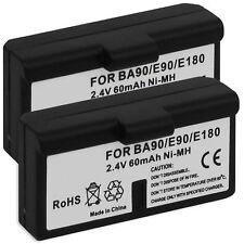 2x Batterie BA90, BA-90, BA 90 pour Sennheiser RI 100-J (Set 100-J), HDI 550
