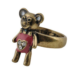 Estilo Vintage Bronce y Rosa Anillo de oso de peluche, tamaño de Reino Unido o