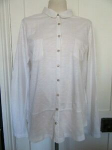WHITE STUFF WHITE BLOUSE ADJUSTABLE L/S SLEEVES SOFT & PATTERNED COTTON SIZE 18