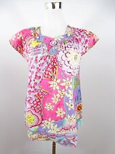 JETTE Women's Pink Floral Casual Retro Look Cotton Embellish Blouse Top BE71