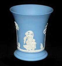 Vase Trichtervase Wedgwood, England, Jasperware blau, Antikenszenen, 9,8 cm