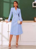 Blue Shawl Collar Double Breasted Flared Cocktail Blazer Dress Sz XS S M L XL