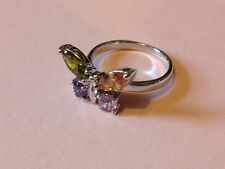 10Ct White Gold Filled Colourful Quartz Butterfly Dress Ring - Size N - UK