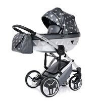 New Beautiful Junama GLOW Black+Silver Baby Pram Stroller Pushchair Trave System