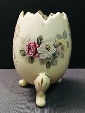 Vintage Inarco Hand Painted Floral Porcelain Cracked Egg Vase Bone E-116/M