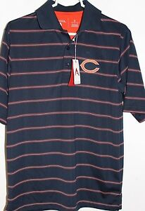 NWT! Men's Antigua NFL CHICAGO BEARS Golf Polo Shirt, Navy with Stripes Size S