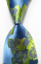 New Classic Floral Blue Gray Green JACQUARD WOVEN 100% Silk Men's Tie Necktie